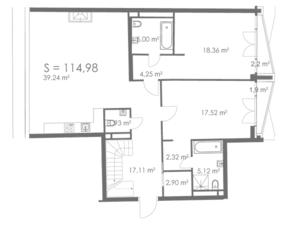 МФК «ORDYNKA by BOSCO Casa», планировка квартиры со свободной планировкой, 114.98 м²