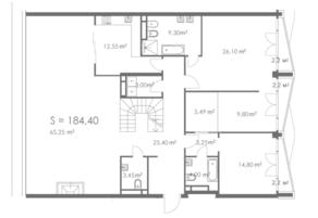 МФК «ORDYNKA by BOSCO Casa», планировка квартиры со свободной планировкой, 184.40 м²