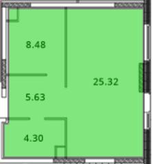 ЖК «МС Южный парк», планировка 1-комнатной квартиры, 44.73 м²