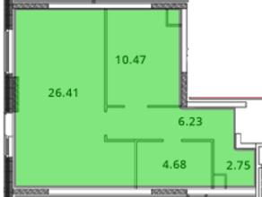 ЖК «МС Южный парк», планировка 1-комнатной квартиры, 51.54 м²