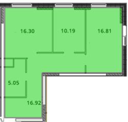 ЖК «МС Южный парк», планировка 2-комнатной квартиры, 66.28 м²