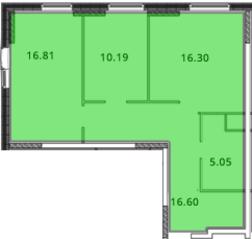 ЖК «МС Южный парк», планировка 2-комнатной квартиры, 65.96 м²
