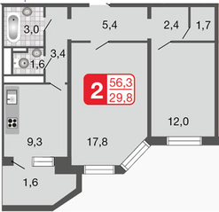 ЖК «Мой адрес на Базовской», планировка 2-комнатной квартиры, 56.30 м²