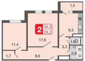 ЖК «Мой адрес на Базовской», планировка 2-комнатной квартиры, 56.60 м²