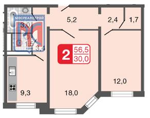 ЖК «Мой адрес на Базовской», планировка 2-комнатной квартиры, 56.50 м²