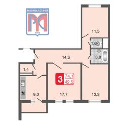 ЖК «Мой адрес на Базовской», планировка 3-комнатной квартиры, 74.10 м²