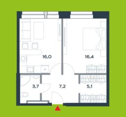 МФК «Citimix», планировка 1-комнатной квартиры, 48.40 м²