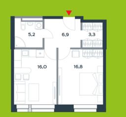 МФК «Citimix», планировка 1-комнатной квартиры, 48.20 м²