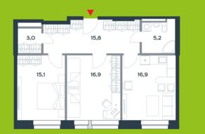 МФК «Citimix», планировка 2-комнатной квартиры, 72.90 м²