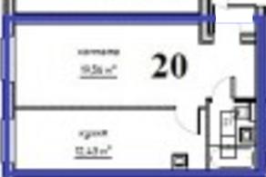 МЖК «Решетниково», планировка 1-комнатной квартиры, 35.00 м²
