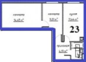 МЖК «Решетниково», планировка 2-комнатной квартиры, 42.09 м²