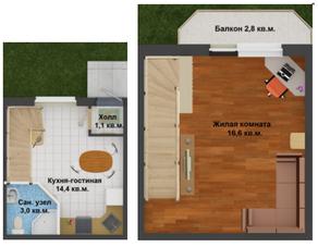 МЖК «Северное сияние», планировка 1-комнатной квартиры, 45.60 м²
