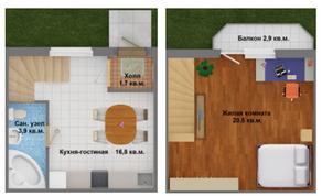 МЖК «Северное сияние», планировка 1-комнатной квартиры, 54.30 м²