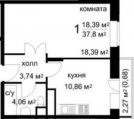 ЖК «Радужный» (Звенигород), планировка 1-комнатной квартиры, 37.80 м²