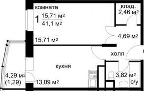 ЖК «Радужный» (Звенигород), планировка 1-комнатной квартиры, 41.10 м²
