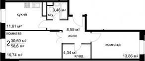 ЖК «Радужный» (Звенигород), планировка 2-комнатной квартиры, 58.60 м²