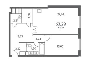 ЖК «NV/9 ARTKVARTAL», планировка 1-комнатной квартиры, 63.29 м²