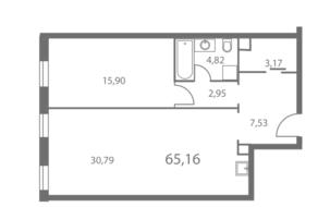 ЖК «NV/9 ARTKVARTAL», планировка 1-комнатной квартиры, 65.14 м²