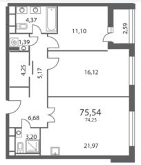 ЖК «NV/9 ARTKVARTAL», планировка 2-комнатной квартиры, 75.54 м²