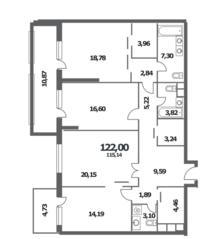 ЖК «NV/9 ARTKVARTAL», планировка 3-комнатной квартиры, 122.00 м²