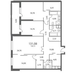 ЖК «NV/9 ARTKVARTAL», планировка 3-комнатной квартиры, 131.08 м²