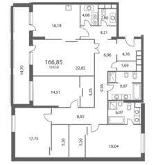 ЖК «NV/9 ARTKVARTAL», планировка 4-комнатной квартиры, 166.85 м²
