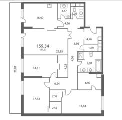ЖК «NV/9 ARTKVARTAL», планировка 4-комнатной квартиры, 159.34 м²