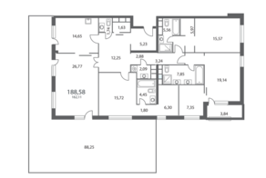 ЖК «NV/9 ARTKVARTAL», планировка 4-комнатной квартиры, 188.58 м²