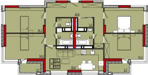 ЖК «Центральный», планировка 4-комнатной квартиры, 109.90 м²