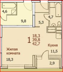 ЖК «Красково», планировка 1-комнатной квартиры, 42.70 м²