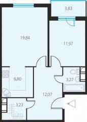 МЖК «Пушкарь», планировка 2-комнатной квартиры, 52.00 м²