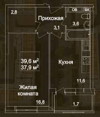 ЖК «Рассказово», планировка 1-комнатной квартиры, 39.60 м²