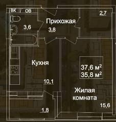 ЖК «Рассказово», планировка 1-комнатной квартиры, 37.60 м²