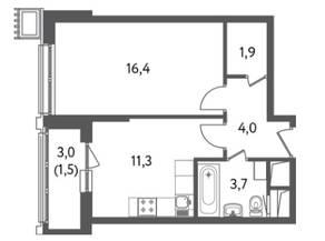 ЖК «Счастье на Пресне», планировка 1-комнатной квартиры, 38.85 м²