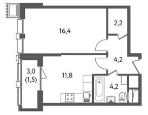 ЖК «Счастье на Пресне», планировка 1-комнатной квартиры, 41.43 м²