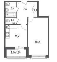 ЖК «Счастье на Пресне», планировка 1-комнатной квартиры, 45.60 м²