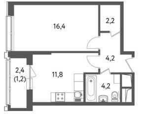 ЖК «Счастье на Пресне», планировка 1-комнатной квартиры, 40.02 м²