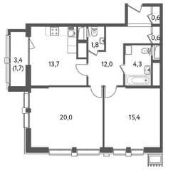 ЖК «Счастье на Пресне», планировка 2-комнатной квартиры, 70.13 м²