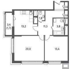 ЖК «Счастье на Пресне», планировка 2-комнатной квартиры, 68.65 м²
