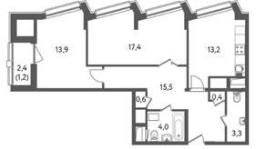 ЖК «Счастье на Пресне», планировка 2-комнатной квартиры, 69.53 м²