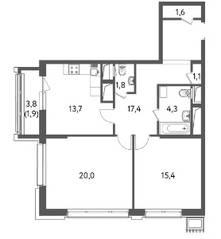 ЖК «Счастье на Пресне», планировка 2-комнатной квартиры, 77.20 м²
