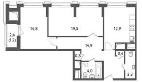 ЖК «Счастье на Пресне», планировка 2-комнатной квартиры, 71.82 м²