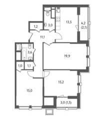 ЖК «Счастье на Пресне», планировка 3-комнатной квартиры, 88.23 м²