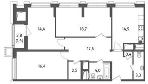 ЖК «Счастье на Пресне», планировка 3-комнатной квартиры, 93.10 м²
