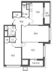 ЖК «Счастье на Пресне», планировка 3-комнатной квартиры, 86.75 м²