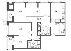 ЖК «Счастье на Пресне», планировка 4-комнатной квартиры, 113.20 м²