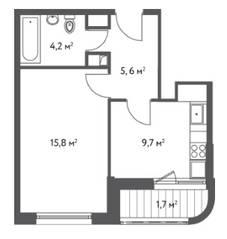 ЖК «Счастье в Царицыно», планировка 1-комнатной квартиры, 37.10 м²