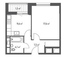 ЖК «Счастье в Царицыно», планировка 1-комнатной квартиры, 40.10 м²