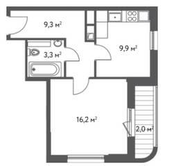 ЖК «Счастье в Царицыно», планировка 1-комнатной квартиры, 40.70 м²