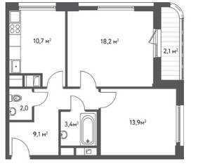 ЖК «Счастье в Царицыно», планировка 2-комнатной квартиры, 59.40 м²